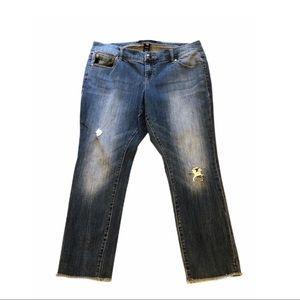 Torrid Crop Ripped Raw Hem Jeans Denim Distress 12